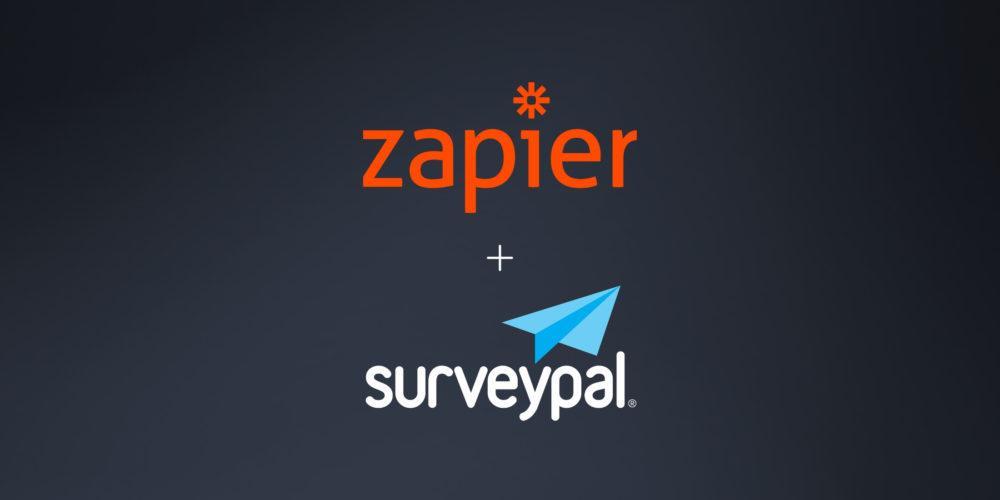 Zapier logo and Surveypal logo against a dark background