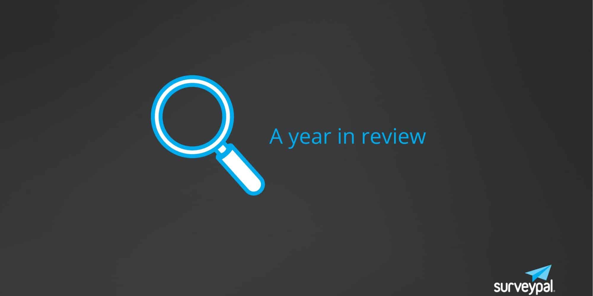 Text: A year in review, against a dark background