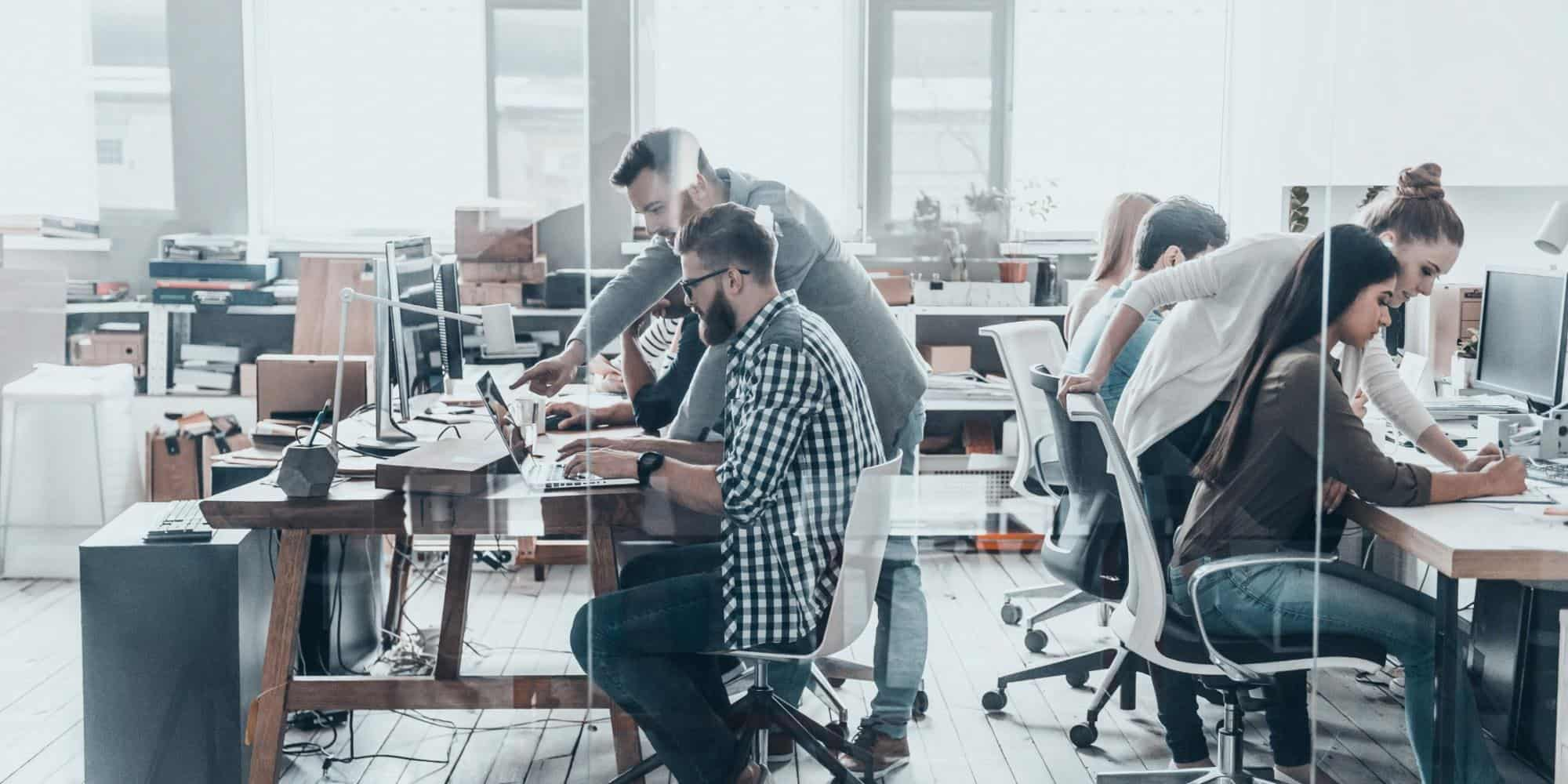 Workers in a modern office space