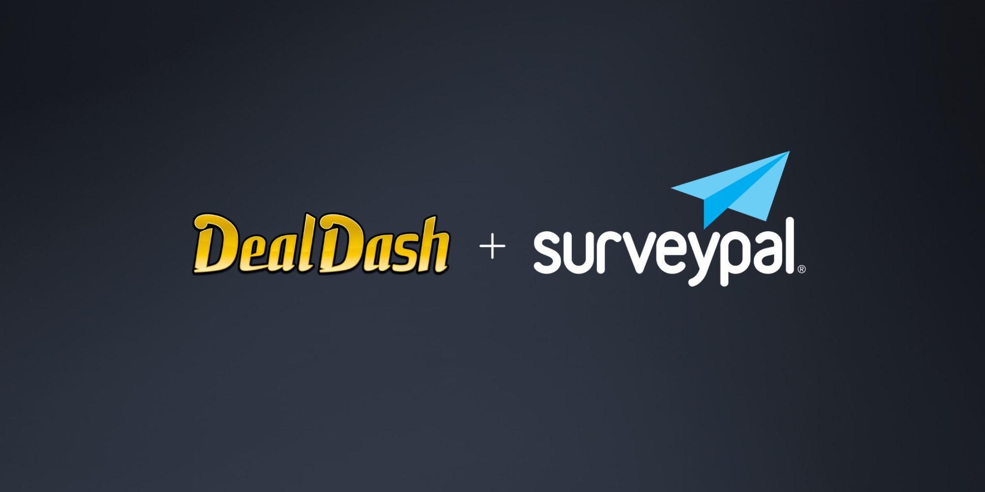 DealDash logo and Surveypal logo against a dark background