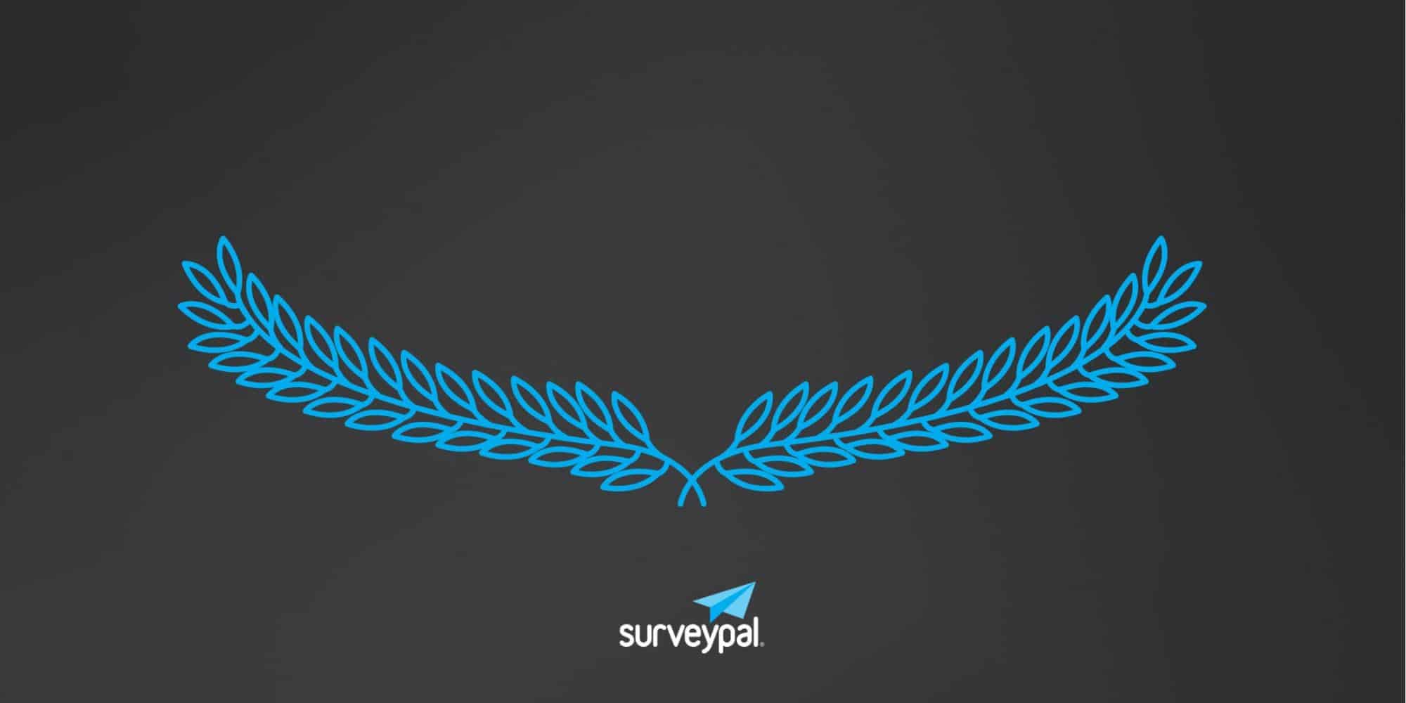 Surveypal logo and a stylized olive wreath against a dark background