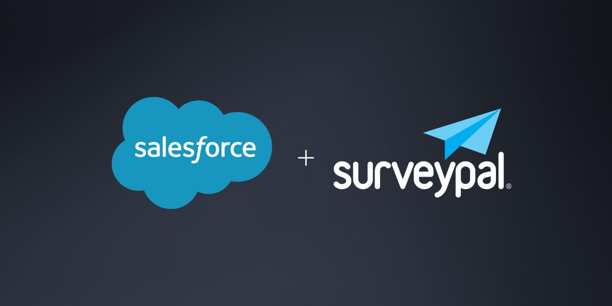 Salesforce logo next to Surveypal logo on a dark background
