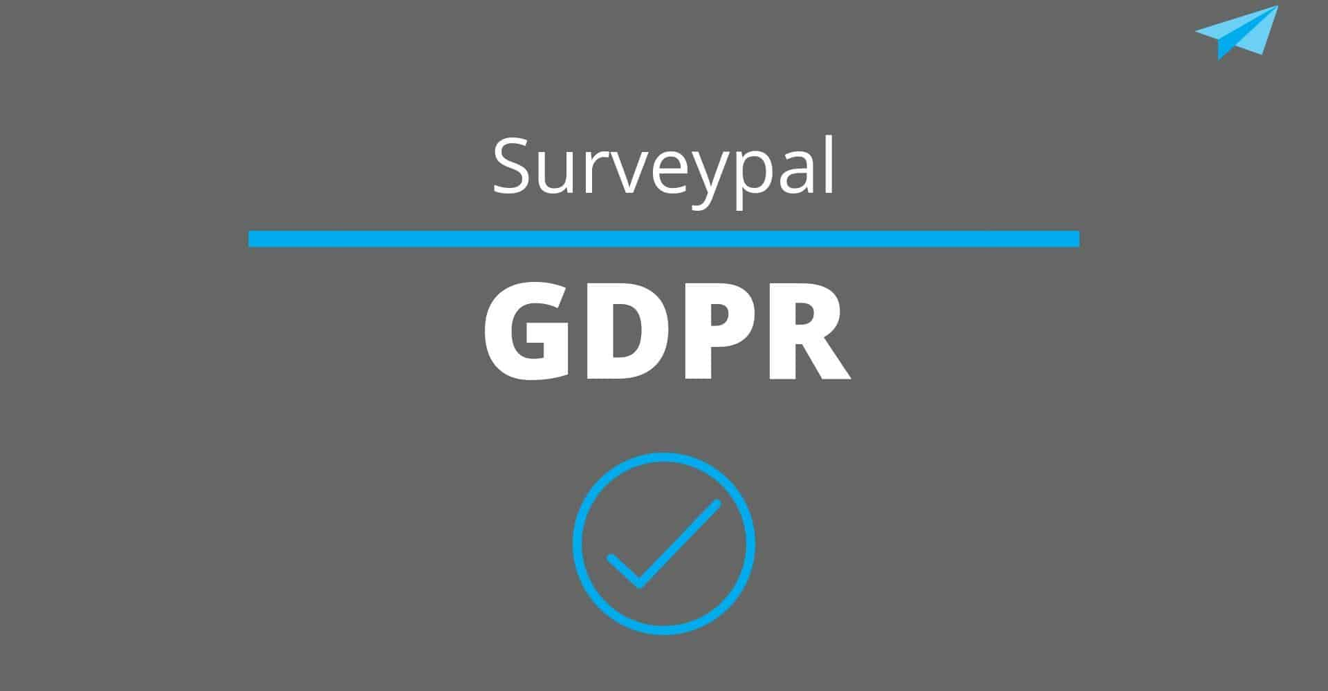 Text: Surveypal, GDPR, against a gray background