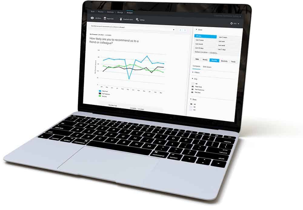 Custom feedback dashboard on a laptop