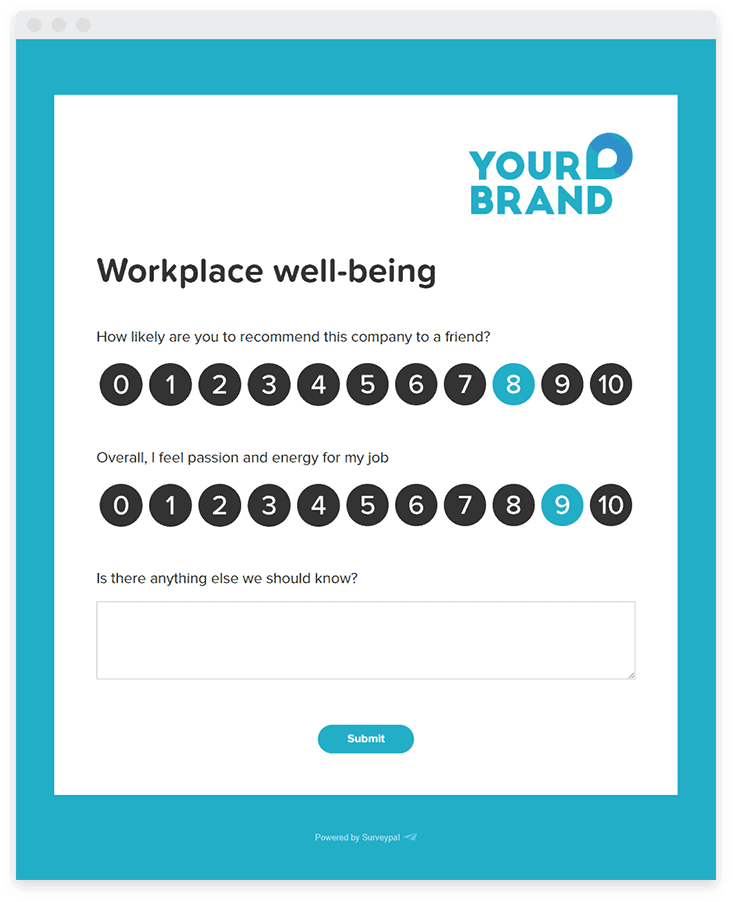 A short survey assessing employee satisfaction and wellbeing