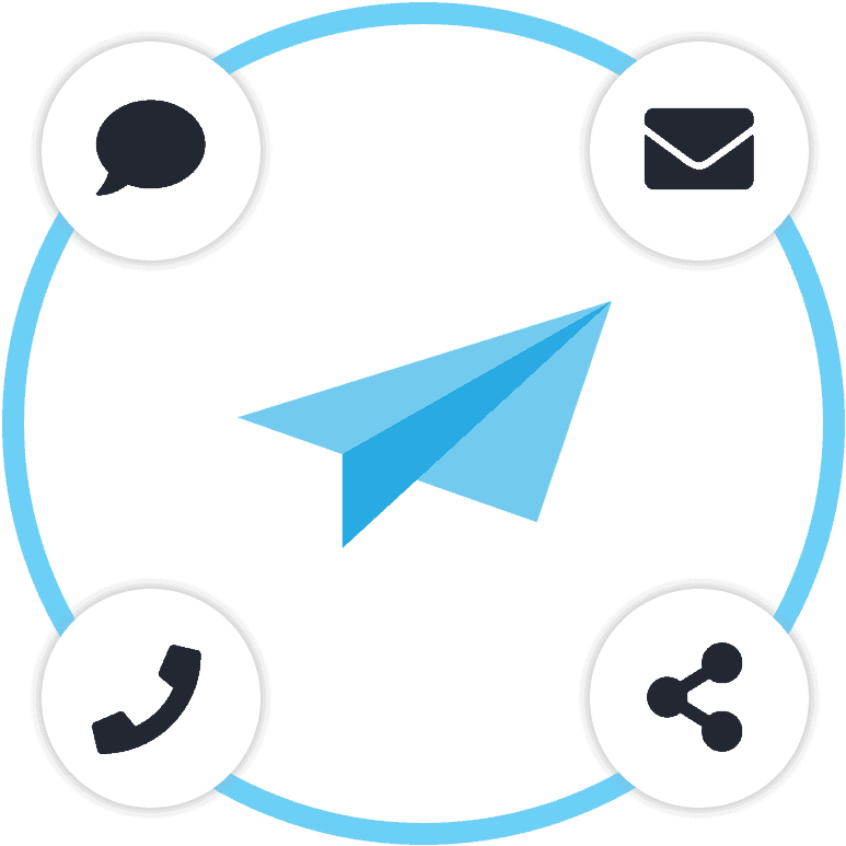 Surveypal logo surrounded by icons representing communication channels