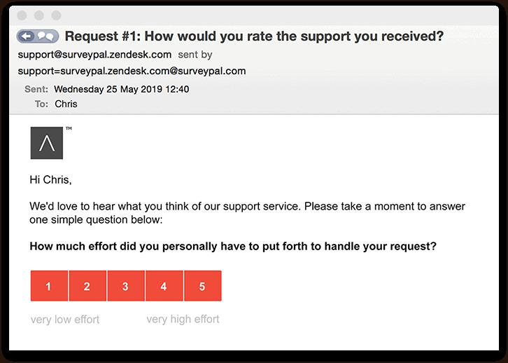 A Zendesk customer effort score survey
