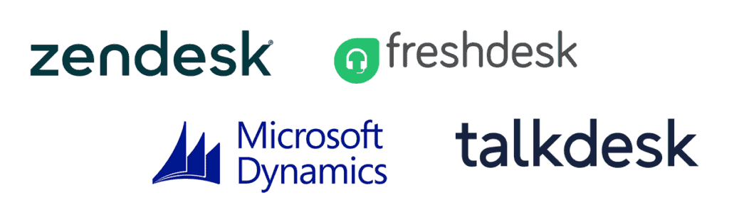 Surveypal customer support integrations: Zendesk, Freshdesk, MS Dynamics, Talkdesk