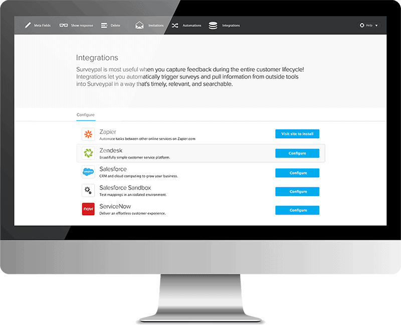 Surveypal integration configuration page