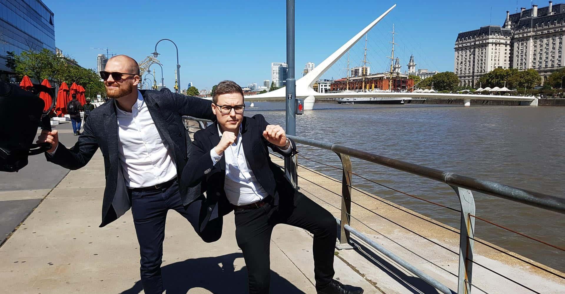 Esa-Matti Karine and Jussi Toivonen posing outdoors
